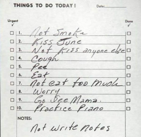 Johnny Cash's to do list