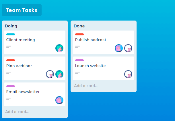A screenshot showing Trello team tasks