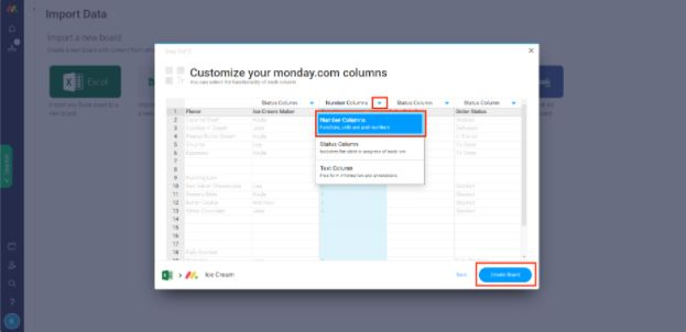 dashboard showing options to customize monday.com columns