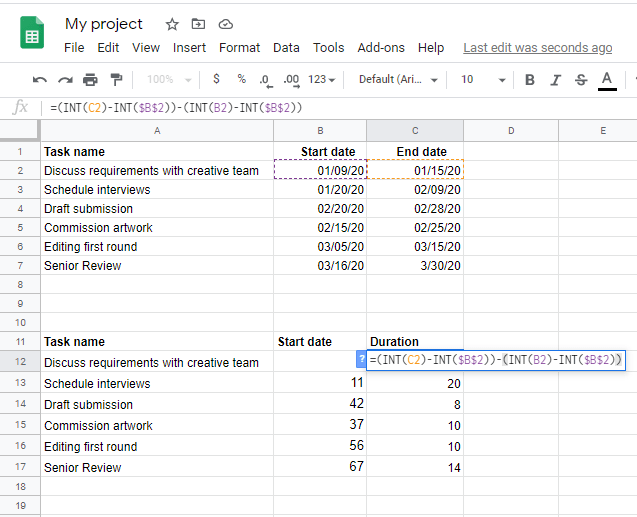 New table showing formula to calculate Duration from the Project plan data