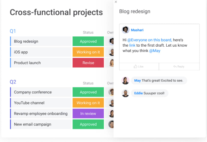 screenshot showing monday.com template with open chat box and project team collaboration