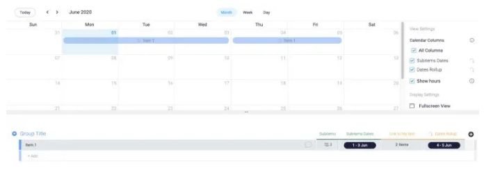 monday.com calendar syncing pulls all your timelines together for easy viewing.