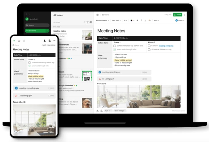 Evernote's note-taking space in both desktop and mobile formats