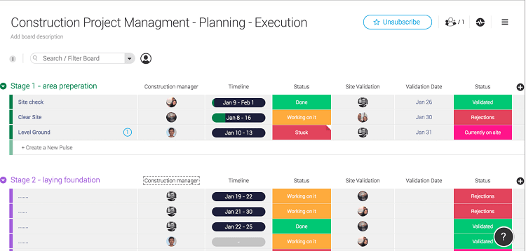 Construction project management scheduling template