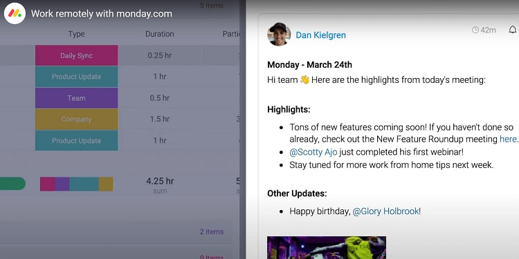 A screenshot showing notes and comments from Monday.com.