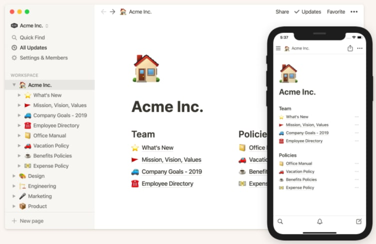 Notion's project dashboard in both desktop and mobile formats