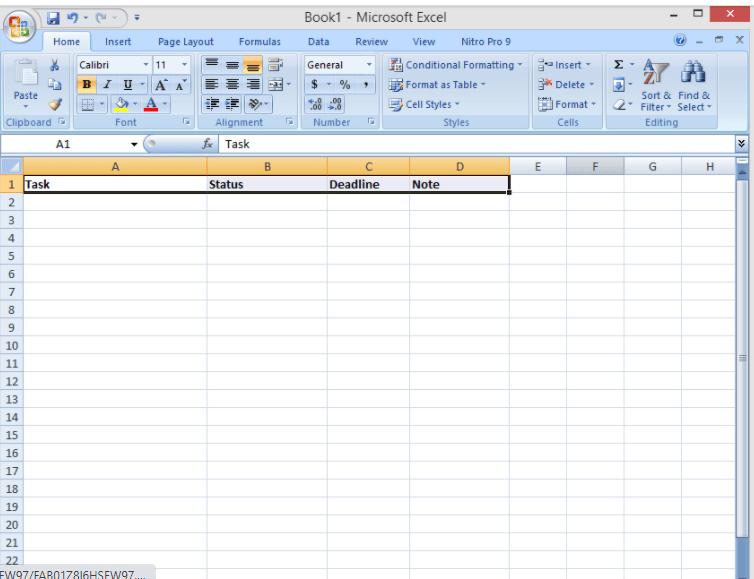 A new Excel spreadsheet showing column headers task name, status, deadline, owner