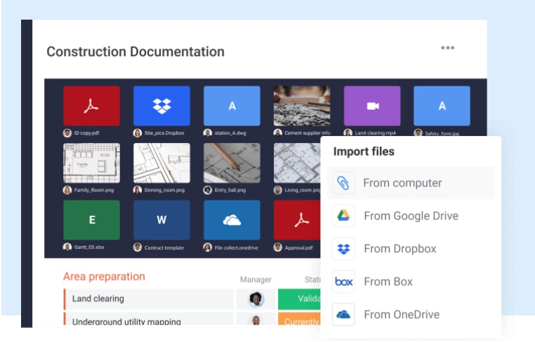 The monday.com dashboard featuring options to attach documents from various third-party file storage applications