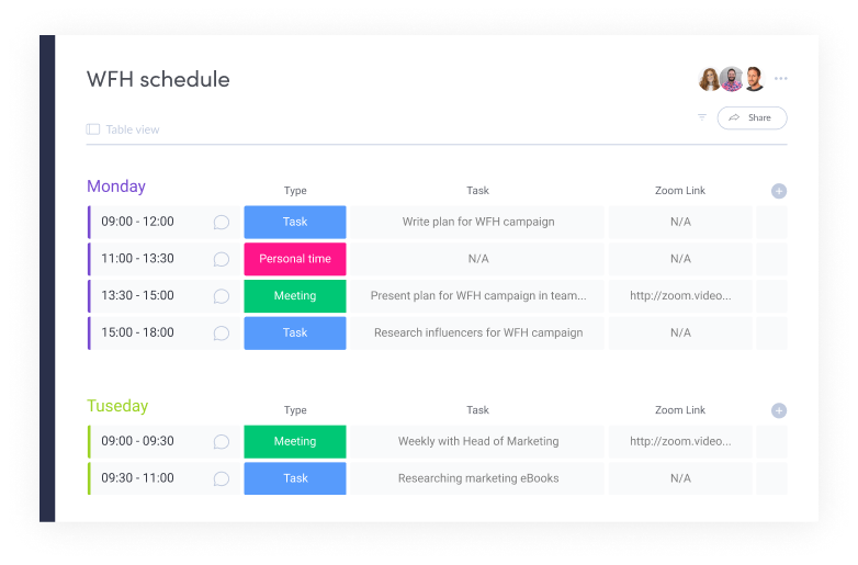WFH Schedule Template