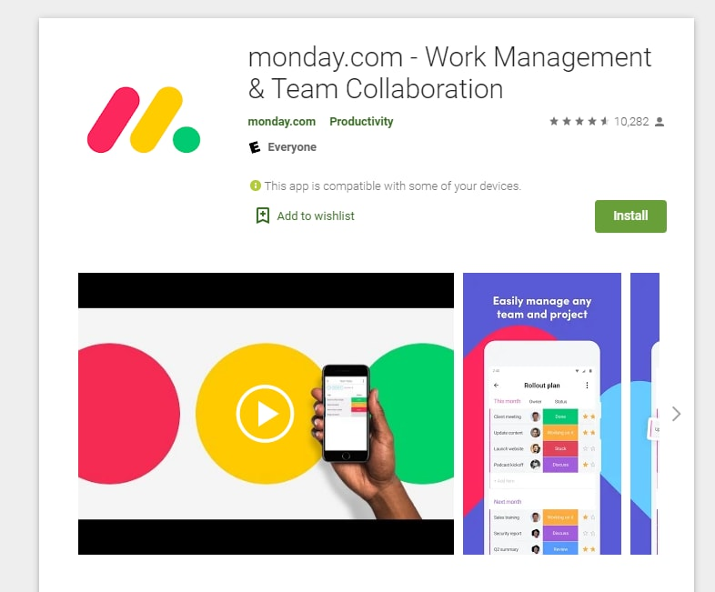 monday.com app on the Google play store