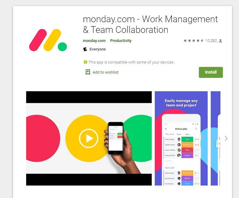 monday.com app on the Google play store