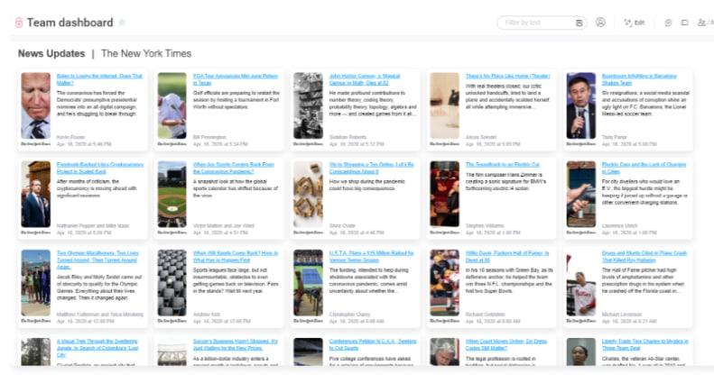 Screenshot from monday.com showing News Update Widget.