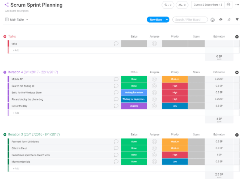 Scrum sprint planning template from monday.com