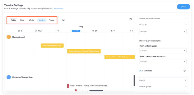 Timeline features to track dates for exams, school holidays, and school events