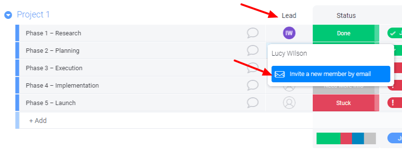 Screenshot from monday.com trial showing how to invite a new member to the lead column.