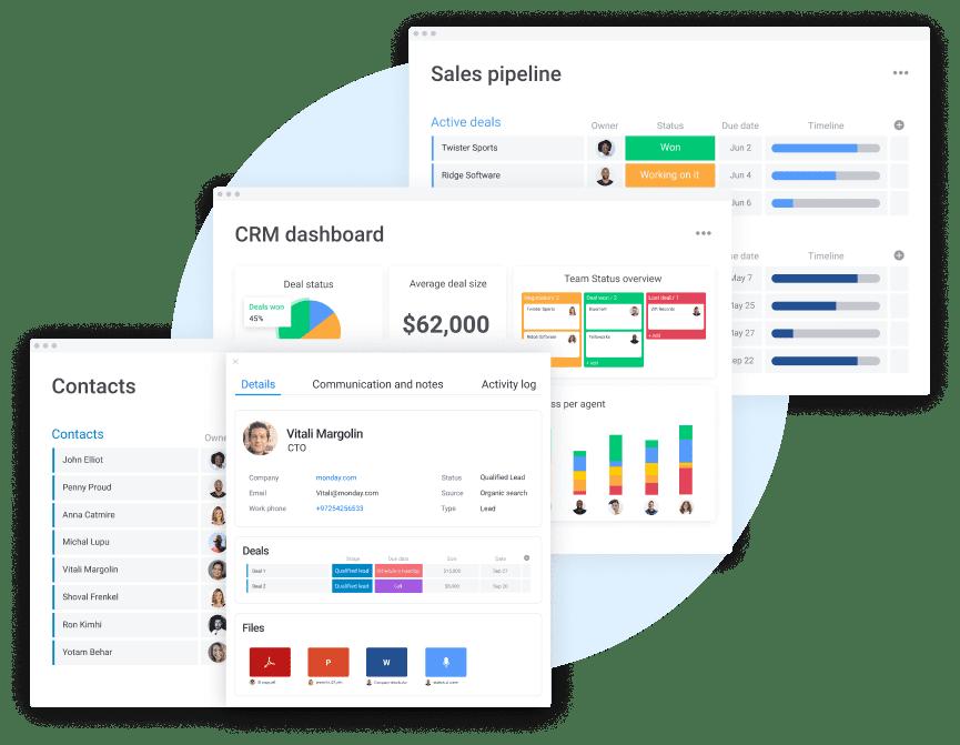 monday.com CRM dashboard