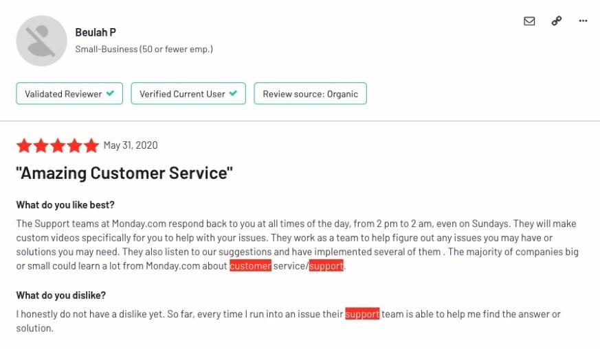 screenshot of G2 customer support customer success review