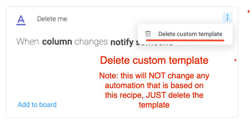 Screenshot showing deletion of custom automation recipe