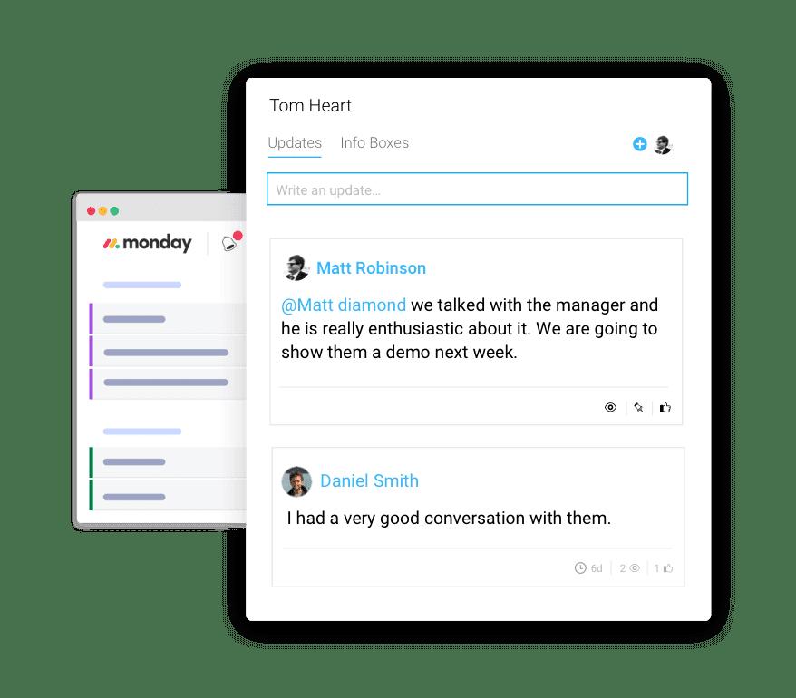 A screenshot showing monday.com's Sales CRM software.