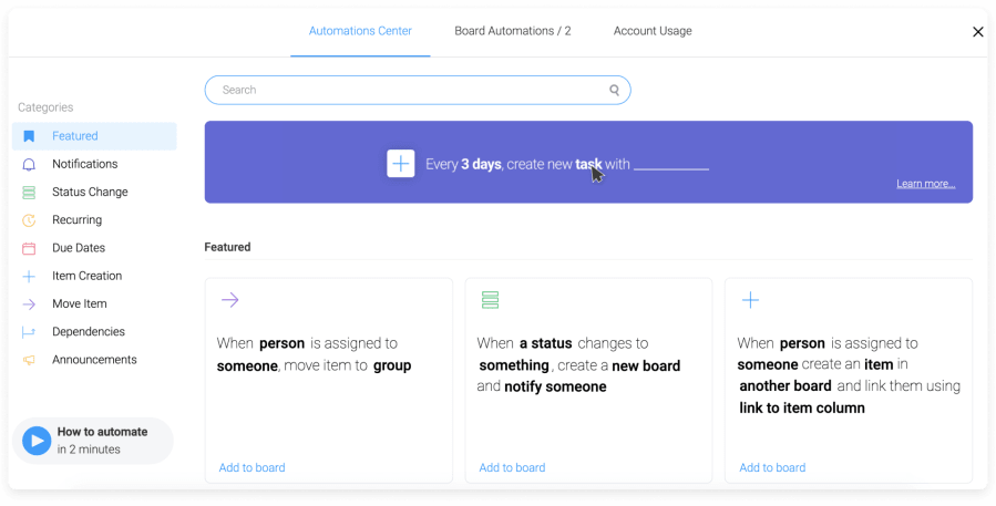 workflow automation in Monday.com