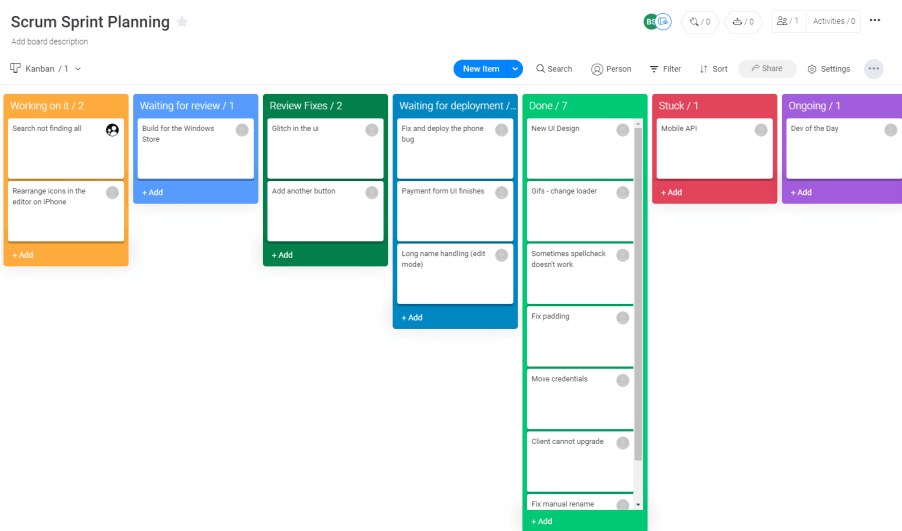 A screenshot showing a kanban view of a scrum board