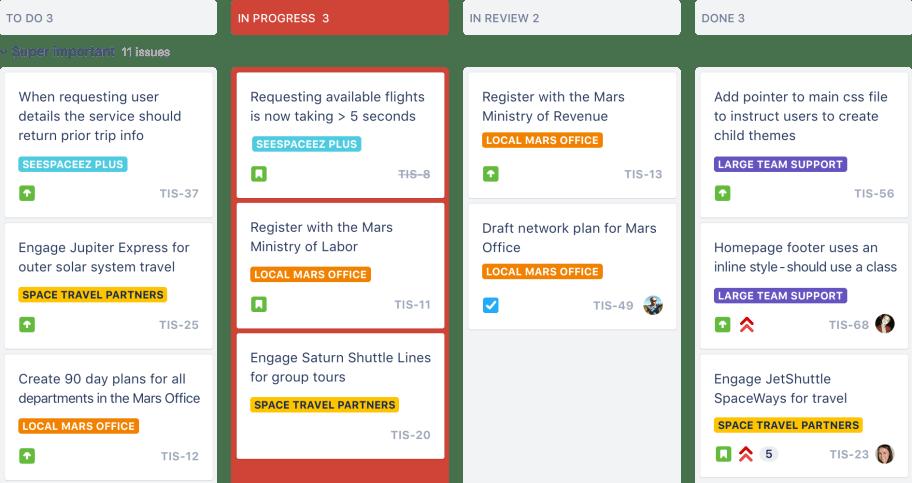 Screenshot of Kanban view within Jira software