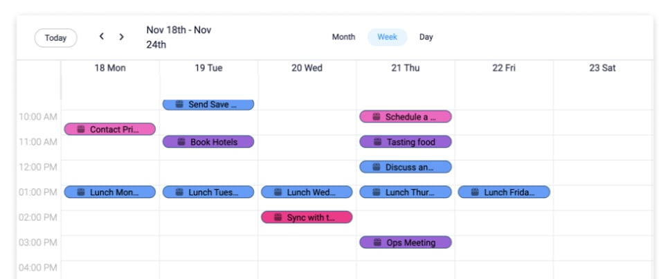 Screenshot from monday.com showing an example of the calendar view.