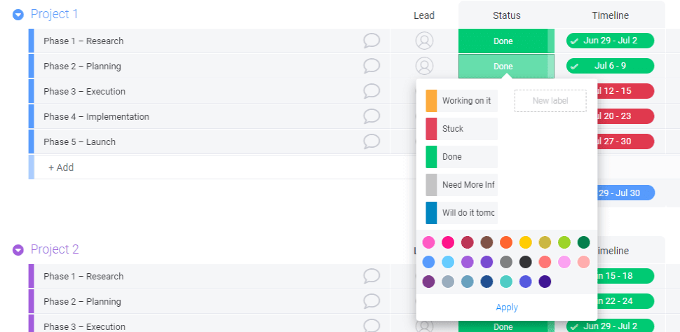 Screenshot from monday.com trial showing how to add status labels.