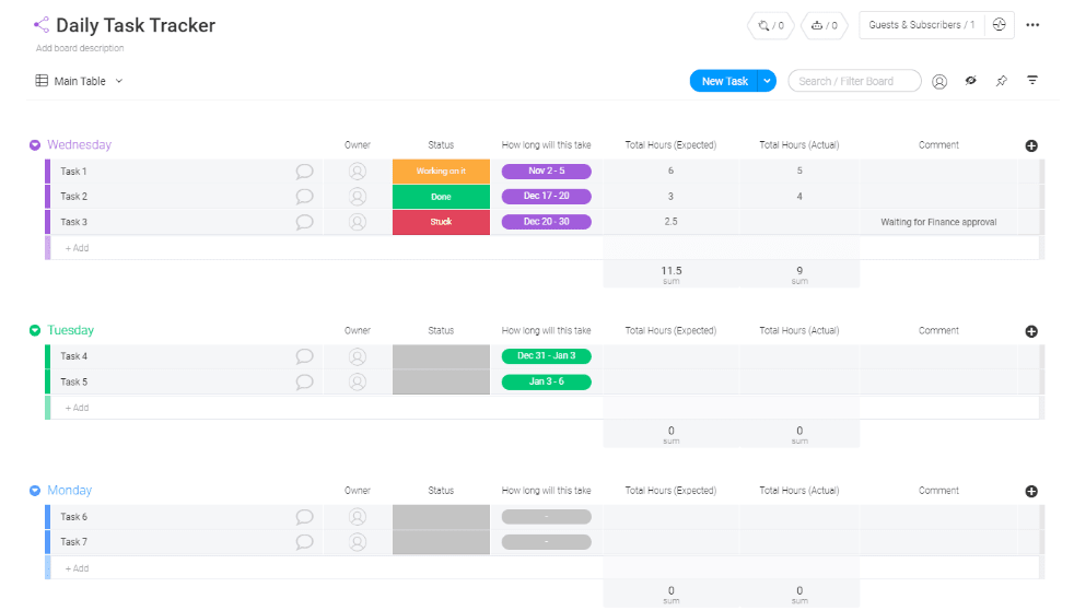 monday.com daily task tracker