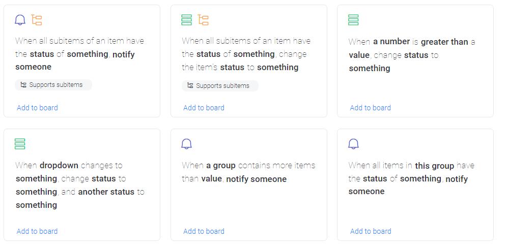 monday.com's automation recipes screenshot
