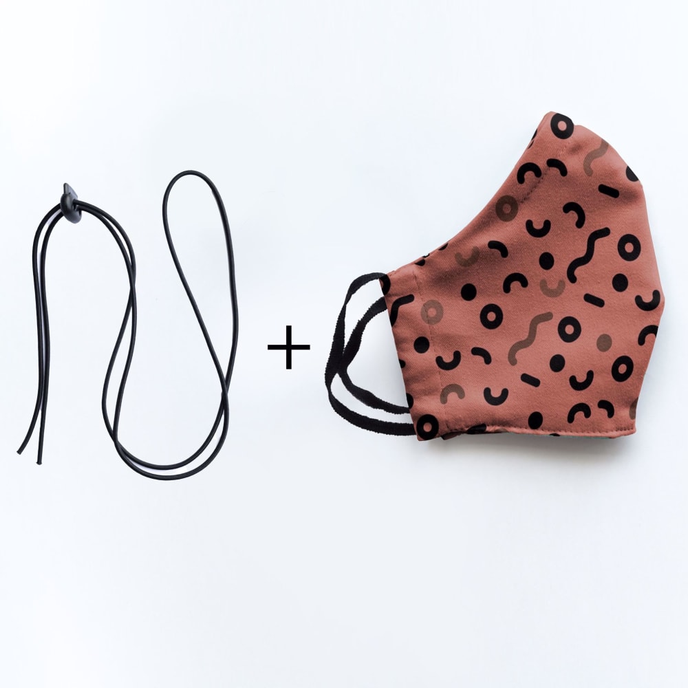 Mondmasker Duo Curly red met elastiek en stopper voor Volwassen