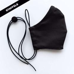Mondmasker Cup Zwart met elastiek en stopper voor Volwassen