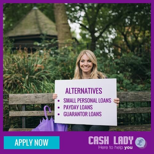 CashLady sitting on a bench showing alternatives for payday loans with bad credit
