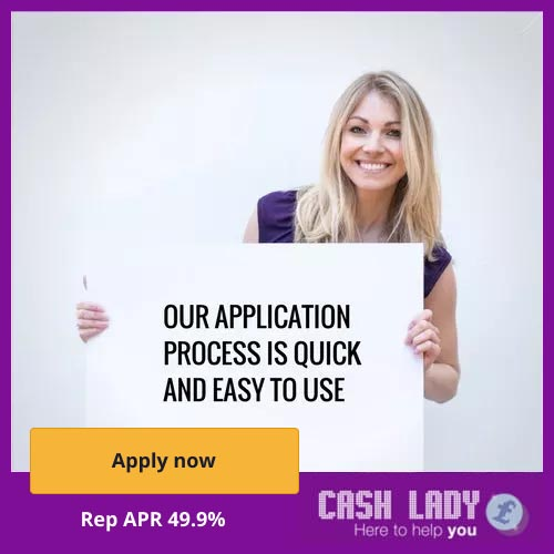 a pretty woman is holding a banner which says that Cashlady's quick loans are easy to use