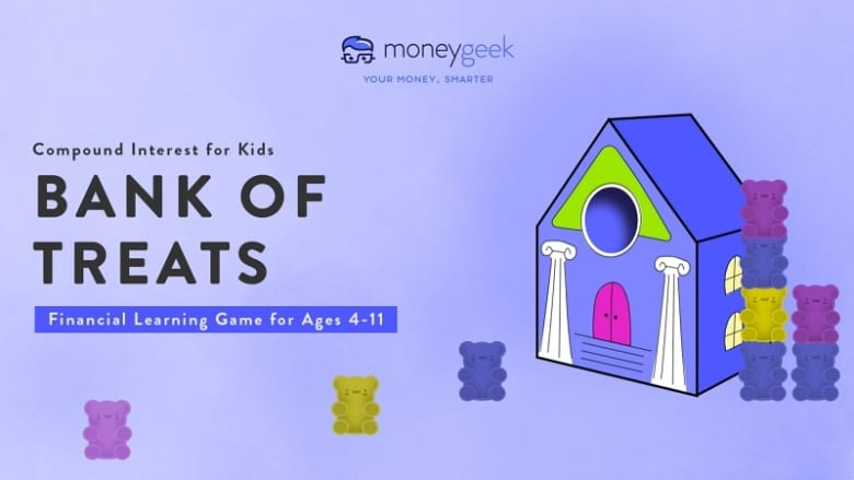 Compound interest for kids: bank of treats financial learning game for ages 4-11. You can build a paper bank and stack gummy bears, as shown on the right-hand side.