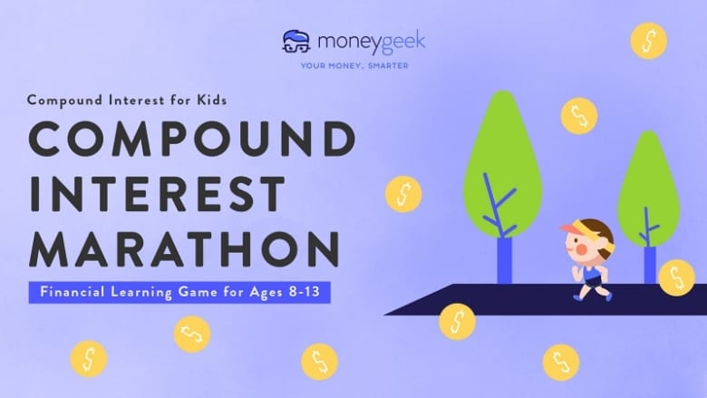 Compound interest for kids: compound interest marathon learning game for ages 8-13. An illustrated child is running around the block to earn money and learn how it compounds.