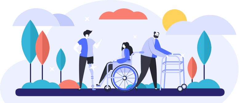 An illustration of three people (a young person with a prosthetic leg, a woman in a wheelchair and a man using a walker) enjoying a nice fall day.