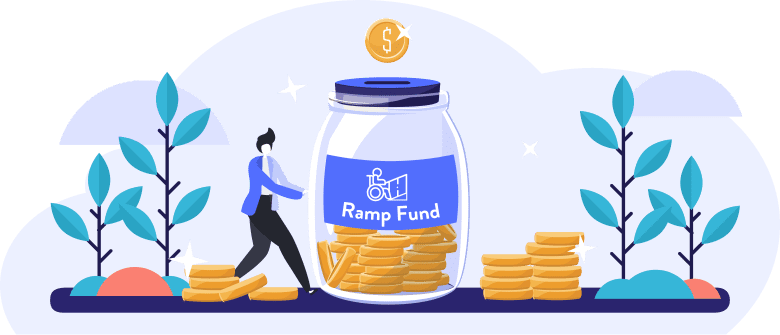 "An illustration of a man holding a large jar labeled ""Ramp Fund"" and filled with gold coins."