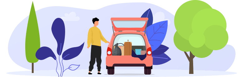 An illustration of a young person putting personal belongings, such as luggage, blanket and boxes, in the car's trunk.