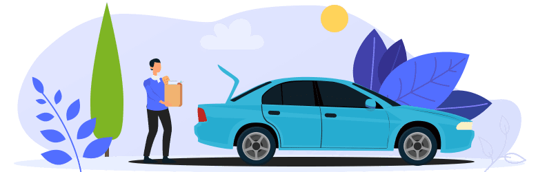 An illustration of a young person putting a bag of groceries in the car's trunk.