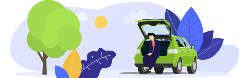 An illustration of a man sitting on the rear bumper of his car with the trunk open.