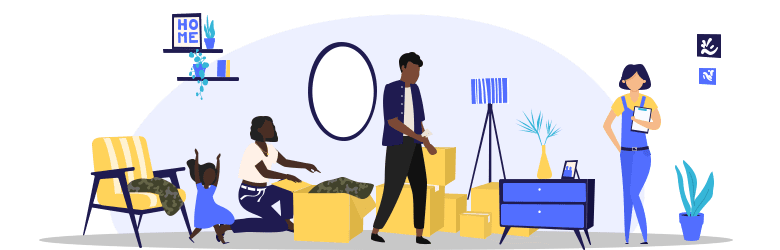 An illustration of a young family that moved to their new home. The wife is unpacking her military uniform while her husband is paying the moving company, and her daughter is running around the home.