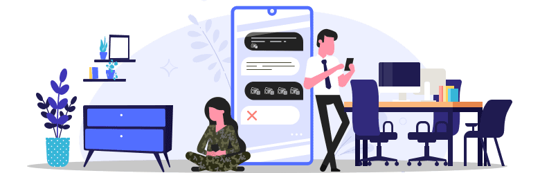 An illustration of a military woman texting with a professional scammer.