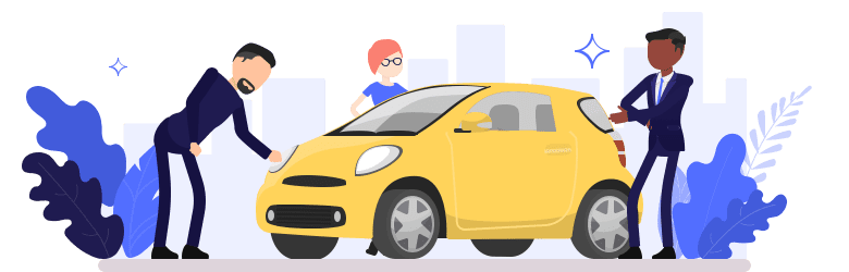 An illustration of a father inspecting the front of a yellow car he plans to purchase for his daughter, while a salesman is trying to discuss additional features.