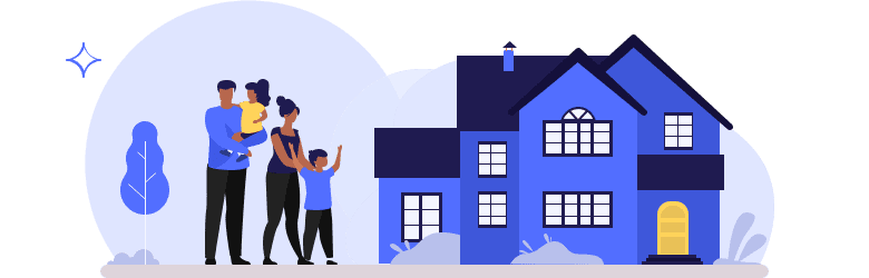 An illustration of a young family of four finding the perfect home.