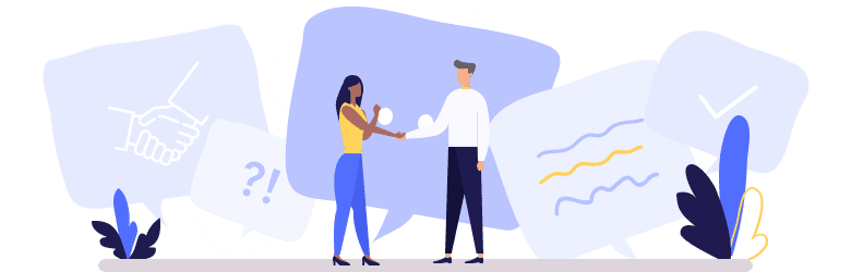 An illustration of a young woman is shaking hands with her landlord after they resolved a conflict.