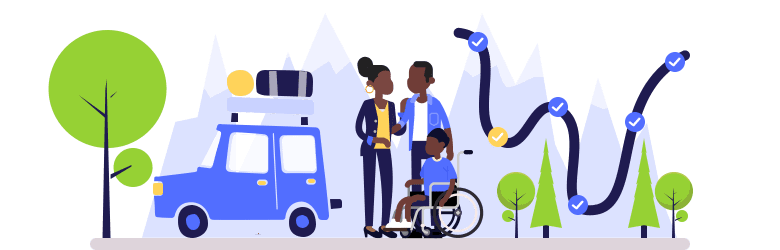 An illustration of a young couple and their child with special needs are getting ready to go on their road trip. The car is packed, and the road is planned.