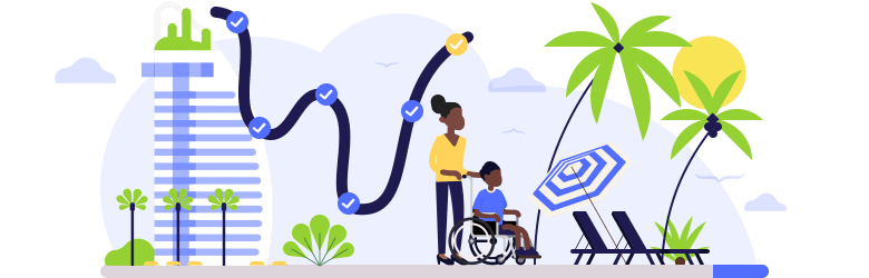An illustration of a young mother taking her son, who has special needs, on a stroll around a beach.