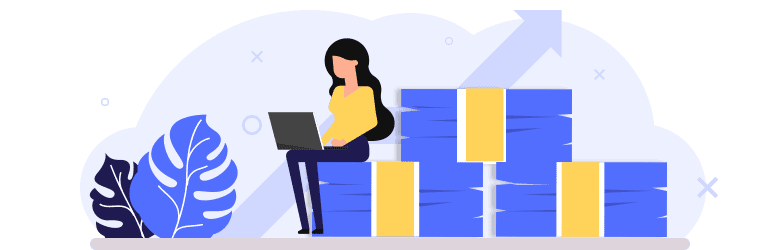 An illustration of a woman with her laptop on her lap sitting on top of a pile of stacked cash.