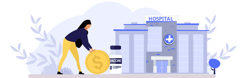 An illustration of a woman pushing a coin to pay for her tdap vaccine at the hospital.